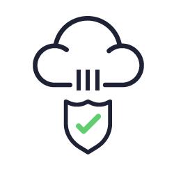 Ícone representando antivírus e antimalware na nuvem.