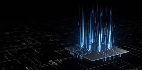Imagem abstrata de circuitos e placa mãe representando a automatização na nuvem.