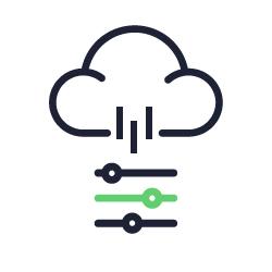 Ícone representando banco de dados na nuvem.