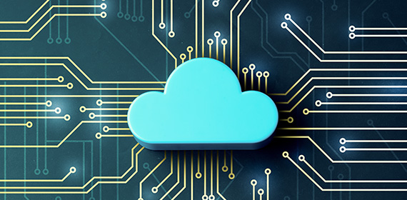 Arte com uma nuvem e circuitos representando a computação em nuvem.