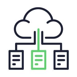 Ícone representando solução de recuperação de desastres na nuvem.